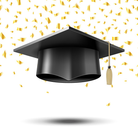 Promoce čepice, koncepce vzdělávání na pozadí. University College škola, klobouk a stupeň, vektorové ilustrace