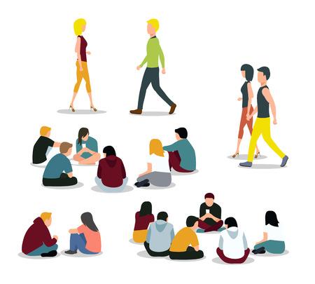 gente sentada: Sentado y caminar los jóvenes. Los niños y niñas, hombres y mujeres. Ilustración vectorial