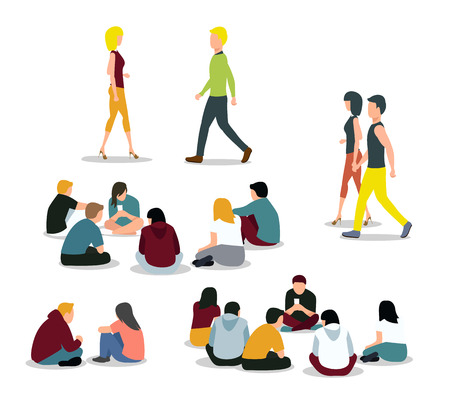 young: Sitting and walking young people. Girl and boy, man and woman. Vector illustration Illustration