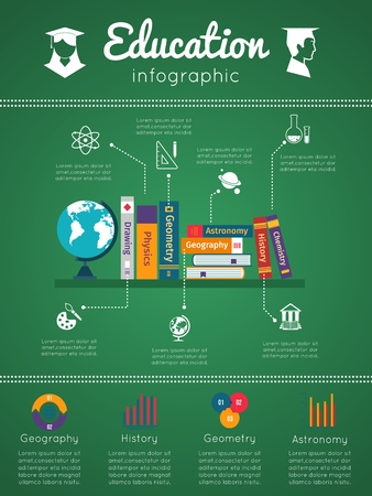 graduated: Education and textbooks infographics with school icons and bookshelf
