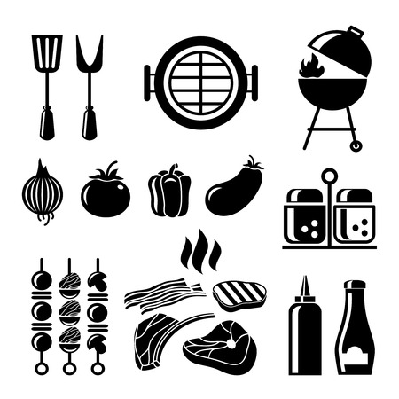 Barbecue icon set. Food and tomato, onion and salt, spices and mustard, ketchup and pepper, vegetable and meat, vector illustration Illustration