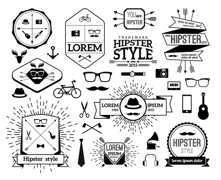 gramophone: Monochrome hipster modern line logo set. Hat and horn, gramophone and tie, guitar and watch, mustache and bicycle. Vector illustration Illustration
