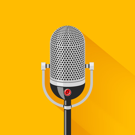 Retro stage microphone silhouette. Studio voice, karaoke and entertainment, old classic mic, musical equipment, vector illustration