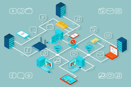 tecnolog�a informatica: Vector de infograf�a de datos isom�trica. La informaci�n y la tecnolog�a, el crecimiento y SEO, base de datos y proceso de la ilustraci�n Vectores