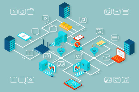 information management: Vector isometric data infographics. Information and technology, growth and seo, database and process illustration Illustration
