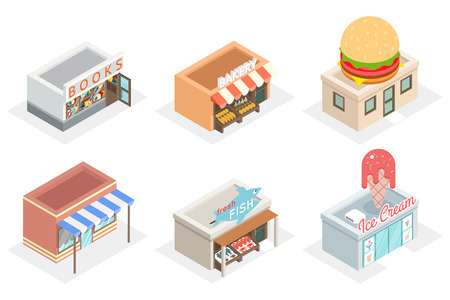 food icon: Vector shops and stores 3d isometric icons. Fastfood and bakery, fresh fish and ice cream, design facade building illustration