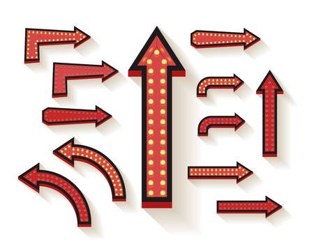 flecha derecha: vector de las flechas 3d con las bombillas eléctricas. Letrero flecha eléctrica, lámpara de la decoración de la ilustración Vectores