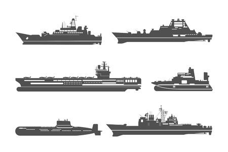 Silhouettes of naval ships. Marine navy transport, transportation and military shipping. Vector illustration Vettoriali