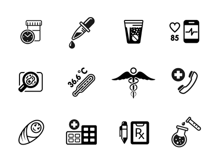 test tube babies: Medical icons, vector on white. Thermometer and emergency, aid and pharmacy science illustration Illustration