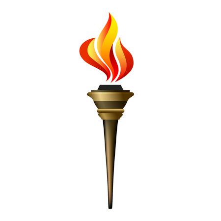 llamas de fuego: Icono de la antorcha del vector. Llama caliente, llameante energía, el calor y la libertad, el éxito victoria, resplandor triunfo ilustración Vectores