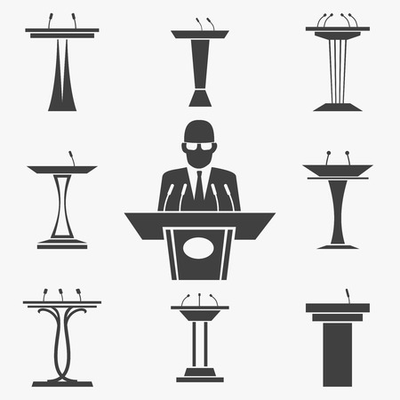 Vector conjunto de iconos tribunos. Presentación y orador, el discurso y la conferencia, podio y tribuna, ilustración micrófono