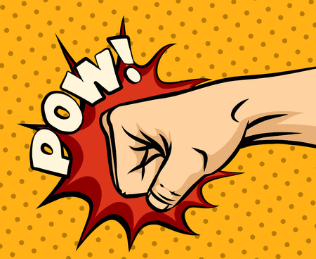 puÑos: Golpes puño, perforación puño en el estilo del arte pop. La violencia humana, los nudillos y el impacto, ilustración vectorial