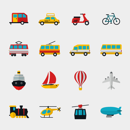 trolleybus: Transport flat icons set. Automobile and dirigible, trolleybus and locomotive, bike and tram, scooter and yacht, plane and bicycle. Vector illustration