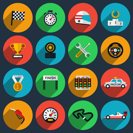 sports race: Vector set of racing icons in flat style. Formula one, stopwatch and speedometer, pedestal and helmet, cup winning, finish flag
