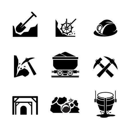 Minería y extracción de mineral de iconos. Industria mineral, de recursos y contenedores de producción. Ilustración vectorial