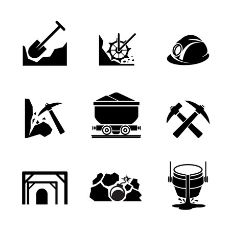 ore: Mining and ore extraction icons. Mineral industry, resource and production container. Vector illustration