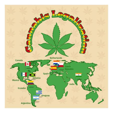 Legalisering van marihuana of cannabis te legaliseren. Plantaardige drugs, hennep en kaart van de wereld, juridische kruid. Vector illustratie Vector Illustratie