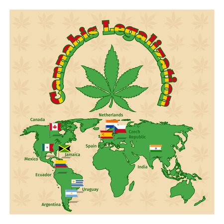 legalize: Legalization of marijuana or cannabis legalize.  Plant drug, hemp and map world, legal herb. Vector illustration