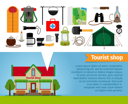 retail equipment: Tourist shop. Tourism equipment and tools for hiking and trekking. Items and retail, thermos and sleeping bag, adventure and jar, vector illustration