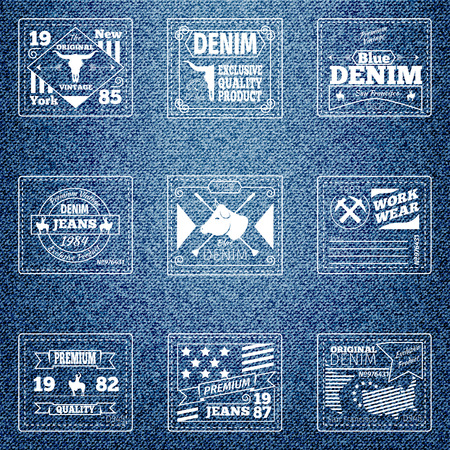 clothes: Original authentic denim jeans labels. Cloth design retro, quality wear, emblem material, vector illustration