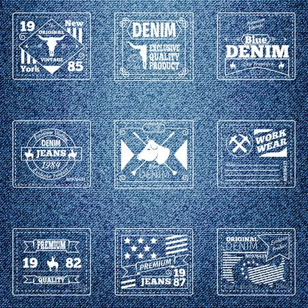 mezclilla: Originales auténticos vaqueros de mezclilla etiquetas. Paño retro diseño, desgaste calidad, material emblema, ilustración vectorial Vectores