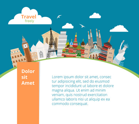 World landmarks background. Architecture famous monument, culture building, vector illustration Illustration