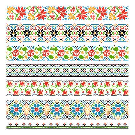 자수 스티치 우크라이나어 민족 국가의 경계 원활한 패턴입니다. 그래픽 스쳐 스타일, 전통 꽃 장식 픽셀. 벡터 일러스트 레이 션 일러스트
