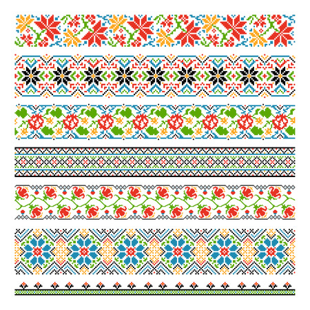 Ukrainian ethnic national border seamless patterns for embroidery stitch. Graphic cross-stitch style, tradition flower decoration pixel. Vector illustration Ilustracja
