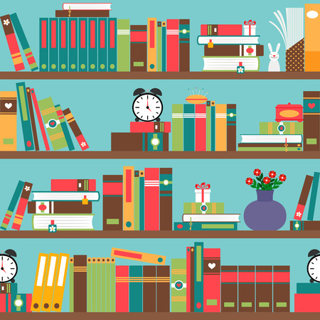 thesaurus: Bookshelf with books in flat style seamless pattern