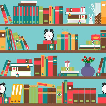 bibliophile: Bookshelf with books in flat style seamless pattern