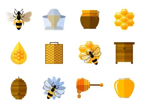 miel de abeja: Vector iconos de miel y abejas en conjunto plana. Comida dulce, insectos y células, nido de abeja y cera de abeja, peine y la olla ilustración