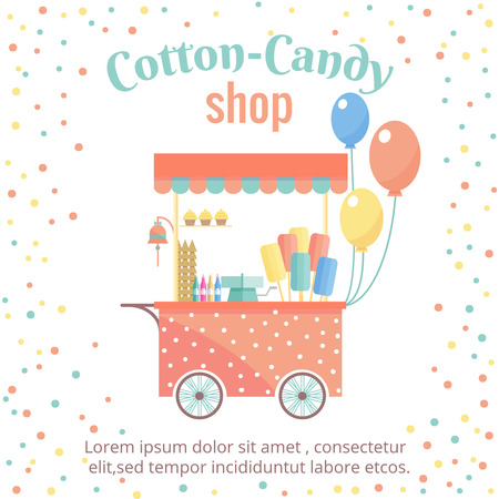 candies: Cotton candy and ice cream street shopping cart. Sweet food, store and dessert, market kiosk, vector illustration
