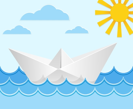 vessel: Origami paper ship on ocean waves. Travel transport toy, cruise and vessel. Vector illustration