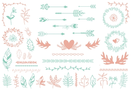 boho: Ethnic tribal boho elements. Arrows and feathers, dividers and borders.  Elegance decoration artwork, decorative sign hipster, sketch drawing, love label. Vector illustration