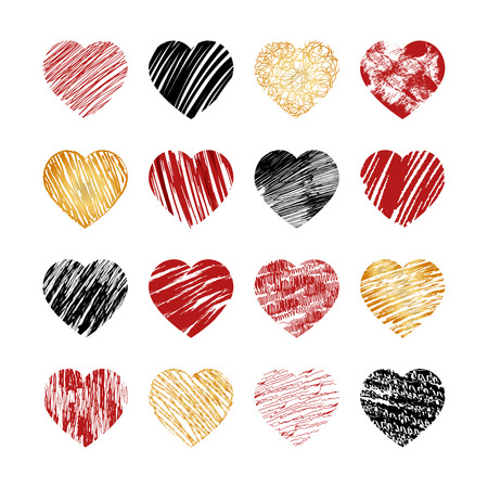 Vector hand drawn heart icons for valentines and wedding. Sign, drawing marriage set, collection silhouette pattern decor, amour decorative illustration Illustration