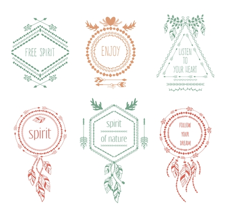 vintage fashion: Boho tribal hipster labels set. Ornament vintage symbol element, decoration drawing collection, vector illustration