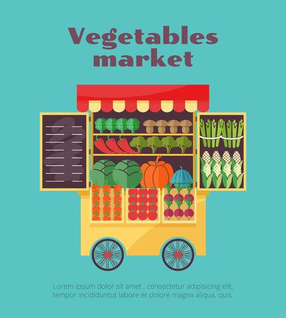 market stall: Farm vegetables market street vending. Carrot and mushroom, pumpkin and pepper, vector illustration