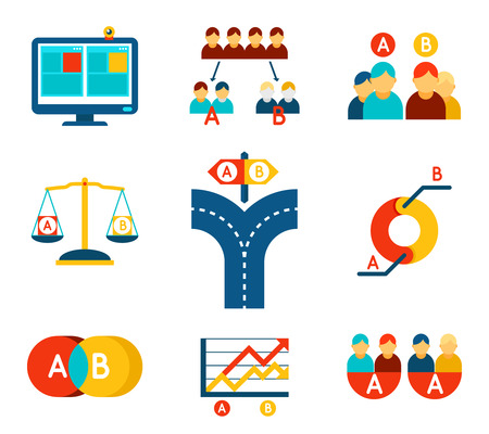 user: A-B testing vector icons set in flat design style. Test business, feedback and research
