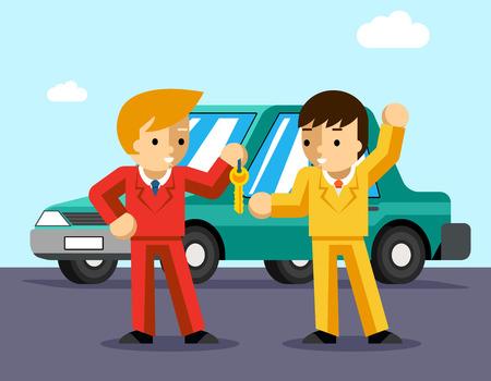La compra de un coche. El hombre consigue llaves del coche. Venta y entrega, concesionario de automóviles, la gente compra, dueño éxito o la conducción. Ilustración vectorial