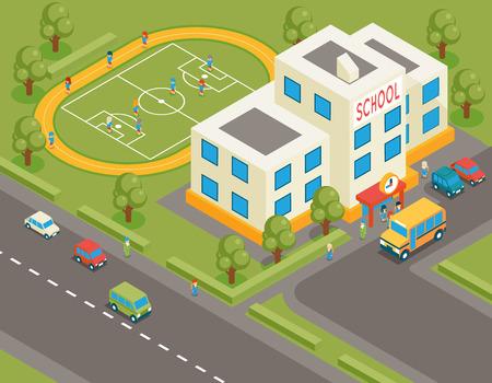 Escuela isométrica o edificio universidad vector. 3d avatar alumno y autobús escolar. Diseño plano. Estructura de la calle, los alumnos y el campo de fútbol, ??el árbol y la carretera, ilustración vectorial Vectores