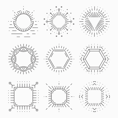 laconic: Thin line hipster frames for emblems and badges. Element or sign retro vintage label, template, symbol laconic design, vector illustration