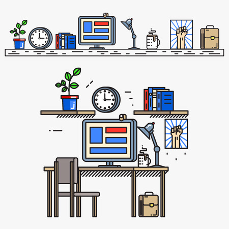work book: Creative designer workspace in thin line flat style. Business workplace, work and desk, desktop and table, monitor screen and book, vector illustration