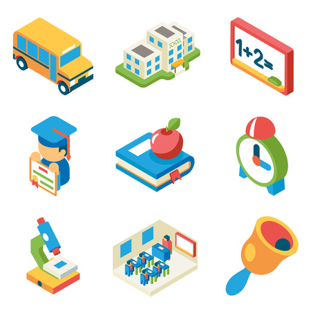 School, university and education isometric 3d flat icons. Bus and building and microscope, diploma and bell, book and apple, vector illustration