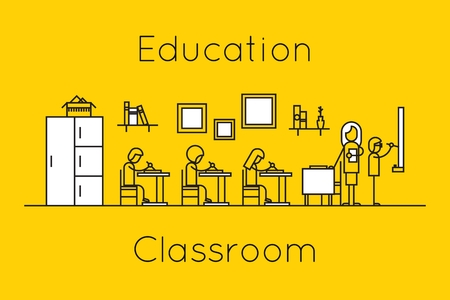 classwork: Classroom education thin line concept. Teacher and pupils, classwork and children, bookcase and lecture, vector illustration