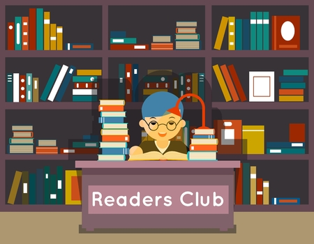 reading lamp: Readers club. Education and love of reading concept. Book in library, knowledge and study, literature and learning, vector illustration
