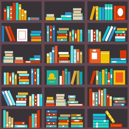 literature: Bookshelf seamless background. Library education, shelf row, literature and school, knowledge and study, vector illustration