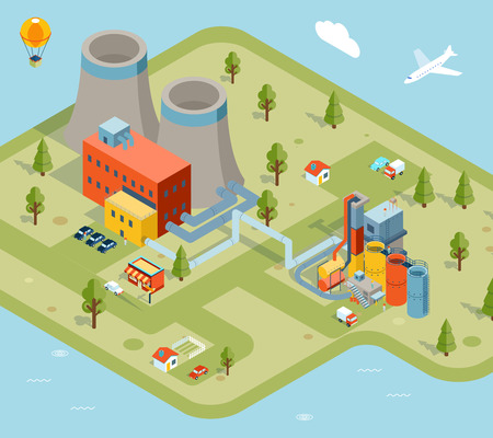 industry architecture: Vector flat 3d isometric model factory. Industry plant, building construction graphic architecture illustration