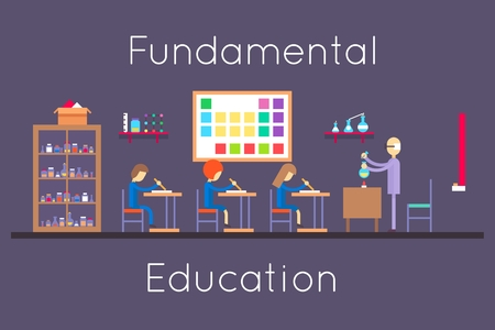 class room: Chemistry education class room flat design. College study, university lesson, experiment and reaction, vector illustration Illustration