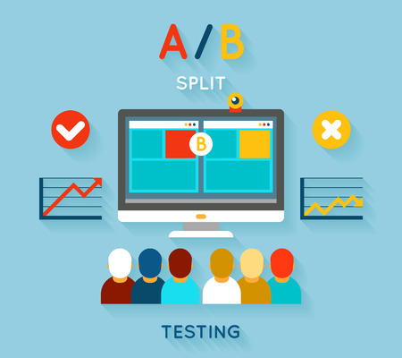 the split: AB comparison test. Computer and feedback, research and planning, vector illustration