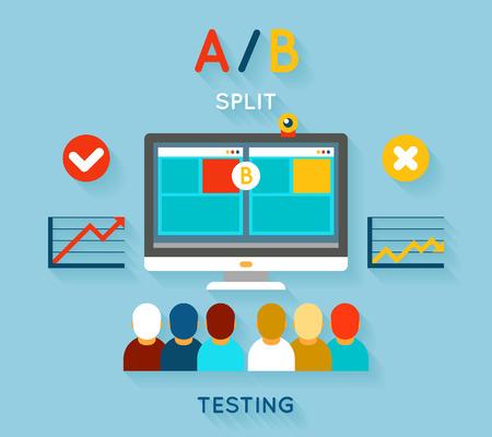 AB vergelijkende test. Computer en feedback, onderzoek en planning, vector illustratie